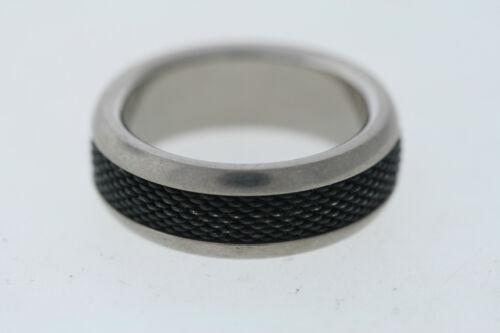 Titanium /& Black Stainless Steel Mesh Inlay 8mm Band Ring