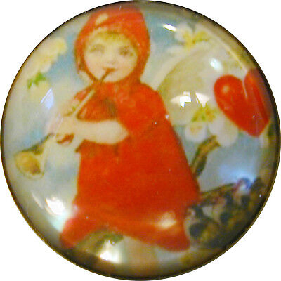 "Valentine 1/"" Crystal Dome Button #5 Boy w// Heart Balloons FREE US SHIPPING"