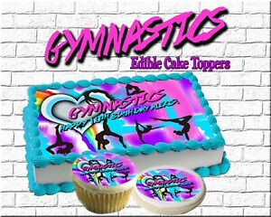 Outstanding Gymnastics Birthday Cake Topper Edible Paper Sugar Sheet Cupcakes Personalised Birthday Cards Bromeletsinfo