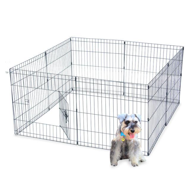 Dog Playpen Pet Exercise Cage Puppy Cat Rabbit Play Pen Indoor Outdoor 24 Panels