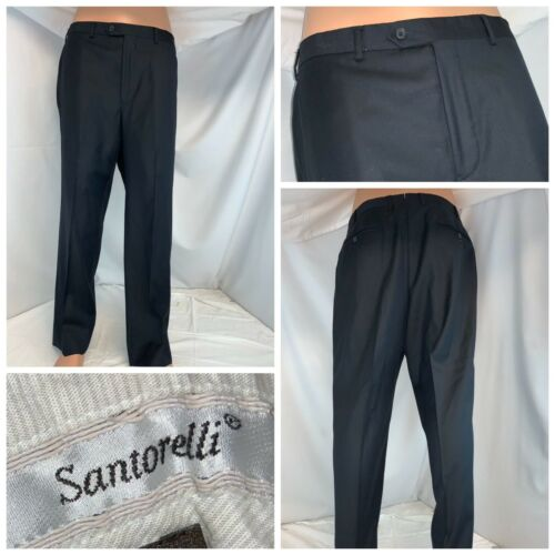 Santorelli Luxury Serge Pants 36x29 Blue 100/% Wool Flat Front Italy YGI A0-329