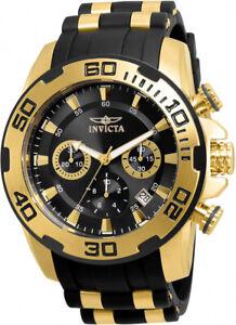 Invicta-Men-039-s-Pro-Diver-Chrono-100m-Gold-Plated-Case-Black-Silicone-Watch-22312