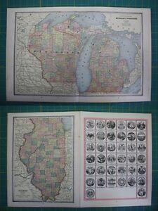 Michigan wisconsin illinois vintage original 1885 crams world atlas image is loading michigan wisconsin illinois vintage original 1885 cram 039 gumiabroncs Gallery