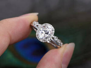 0.95 Ct Oval Cut Moissanite Engagement Band Set Solid 18K White Gold Ring Size 7