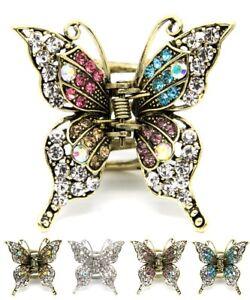Metal hair claw jaw rhinestones crystal elegant butterfly clip hair accessories