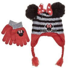 5241239f Disney Minnie Mouse Bow Ears Girl Winter Laplander Beanie Trapper Hat  Gloves Set