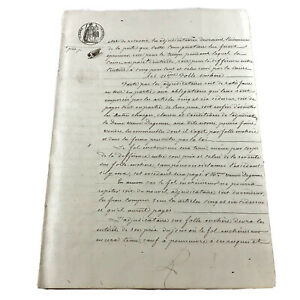 Authentic-1800-s-French-Sealed-Document-Leaf-Legal-Work-Paper-Handwritten-Old-A