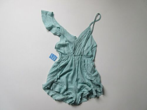 NWT Intimately Free People One of These Days in Mint Starburst Ruffle Romper XS