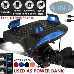 USB-Rechargeable-LED-Bicycle-Headlight-Bike-Horn-Handlebar-Phone-Holder-Cycling