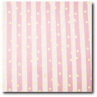 "30/"" wide 20 Ft Pretty Soft Pink Stripe Gift Wrap w// Foil Gold Dots 50 Sq Ft"
