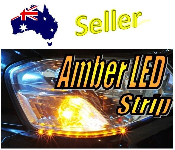 12V LED Amber Strip Super Bright Blinker Indicator Side Shine Slim Stripe Cars