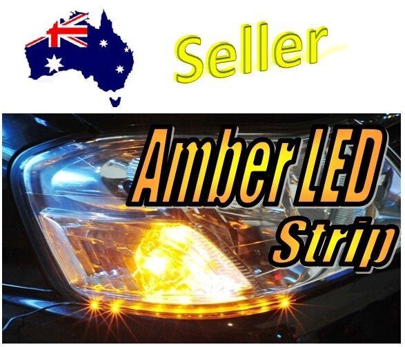 12V LED Amber Strip Super Bright Blinker Indicator Side Shine Slim Stripe Cars