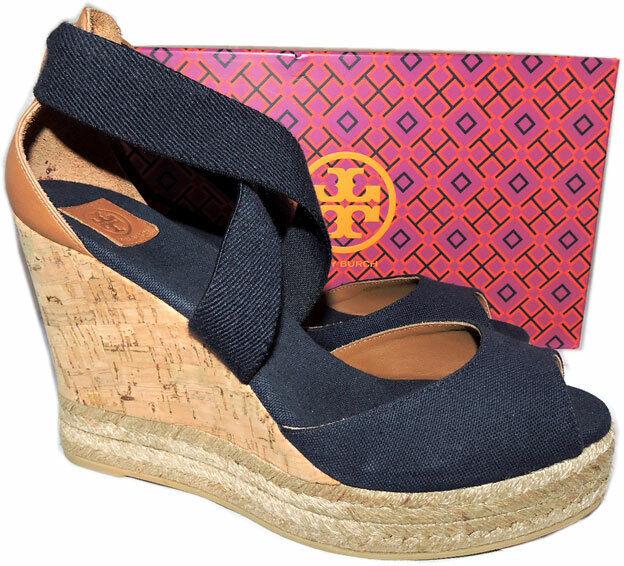 Tory Burch Navy bluee Cork Wedge Sandals Peep Toe Espadrilles Pumps shoes 9.5