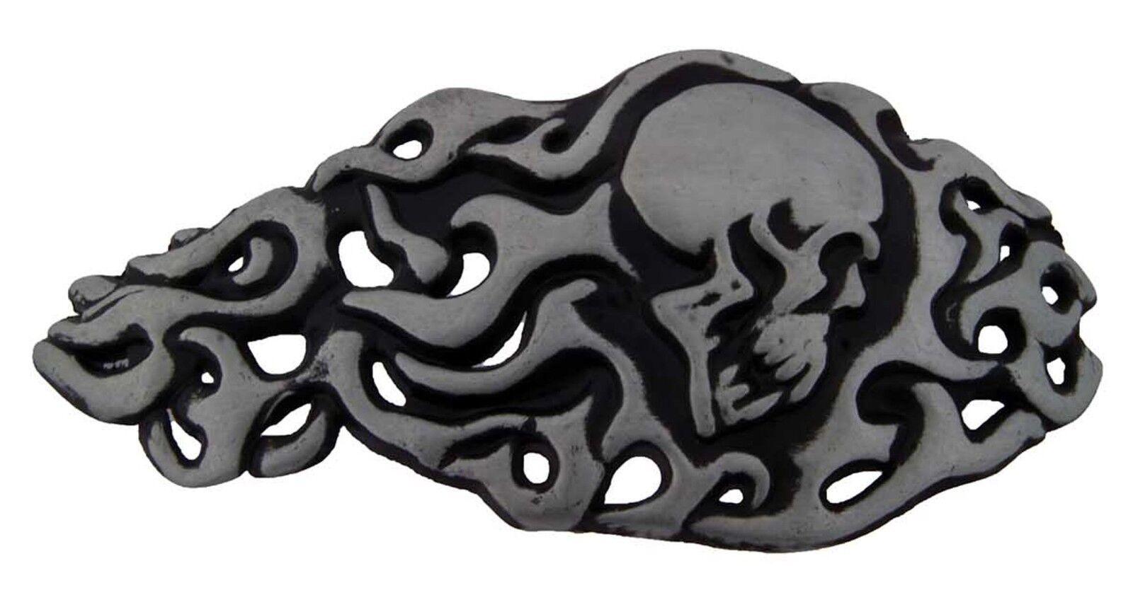 Herren Damen Totenkopf Gürtelschnalle Metall Tattoo Gothic USA Halloween Kostüm