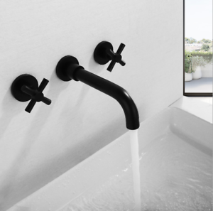 3PC Black Wall Mounted 2Handle Swivel Spout Bath Tub Basin Mixer Faucet Sink Tap