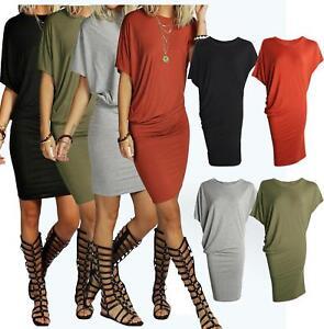 Womens-Ladies-Draped-Mini-Dress-Short-Batwing-Sleeve-Asymmetric-Plain-Long-Top