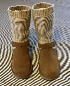 UGG-WOMENS-WINTER-BOOTS-SOFT-SUEDE-KNIT-SZ-9-COLOR-CHESTNUT-OATMEAL-PULL-ON