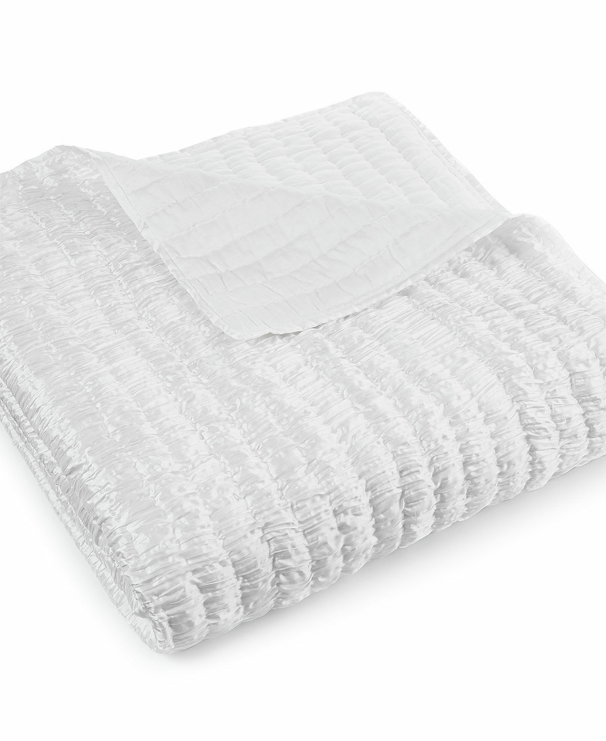 New Hotel Collection Finest Crescent White Crinkle King Coverlet  500