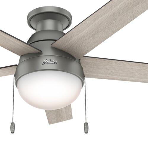 Hunter Fan 46 inch Low Profile Matte Silver Fan w// Light Kit /& Remote Control