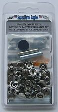 STAINLESS STEEL Snap Fastener Repair Kit Canvas To Canvas Press Stud
