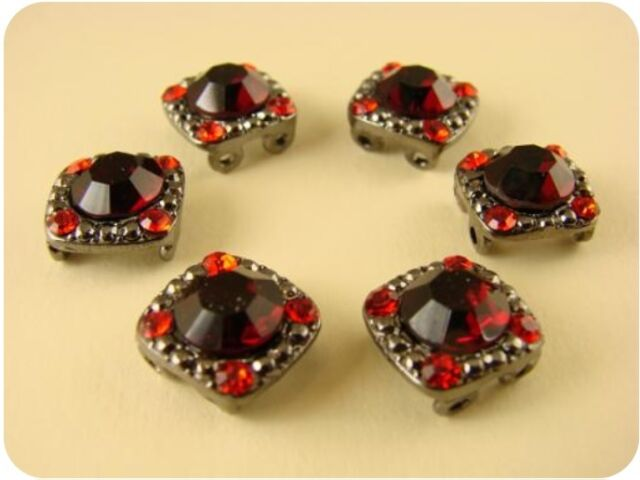 Flower Beads Red Siam Swarovski Crystal Elements 2 Hole Slider Beads Glass QTY 3