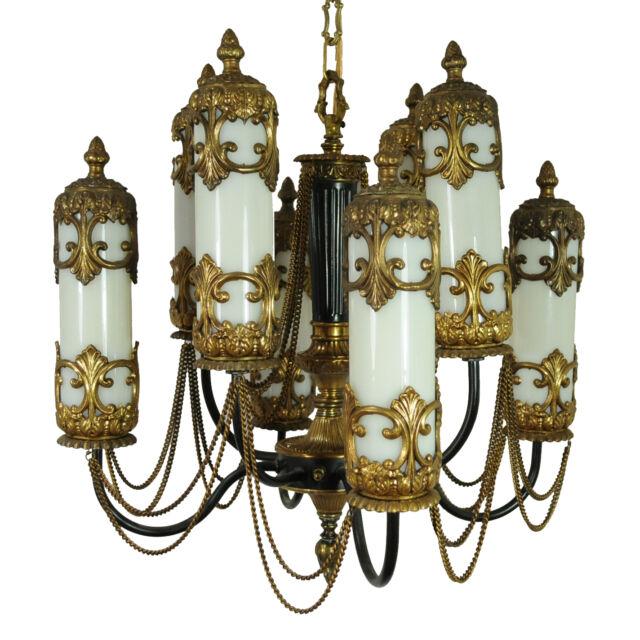 Vtg Brass Glass Shade Mediterranean Moroccan Hollywood Regency Swag Chandelier