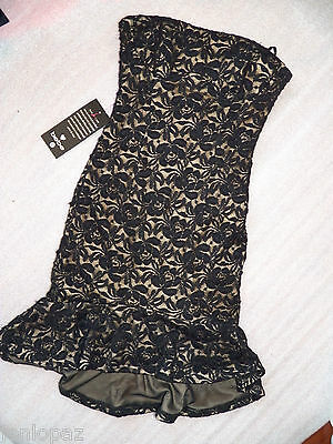 NWT bebe Dress black strapless tube ruffle overlay lace skirt top L 10 12 large