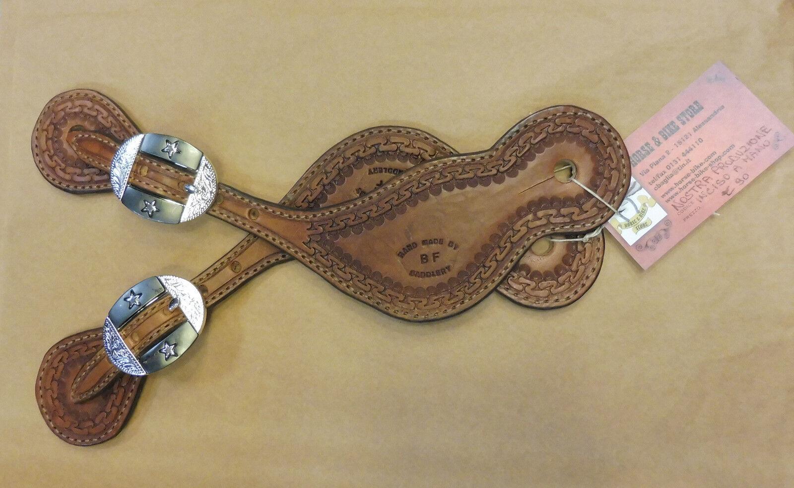Cinturini porta speroni western incisi a mano cuoio platai texas star