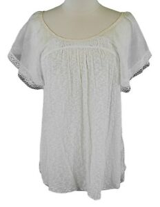 b2646f31b6d1d FREE PEOPLE Women s Off White Sheer   Lace Keyhole Blouse Sz Small ...
