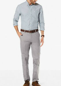 Dockers-Signature-Stretch-Slim-Fit-Khaki-Grey-Men-039-s-Pants-New