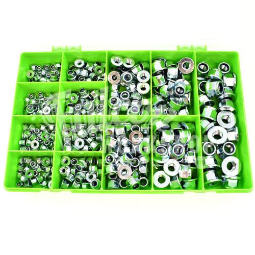 600 ASSORTED ZINC NYLON INSERT LOCKING NUTS M5 M6 M8 M10 M12 WITH FLANGE KIT