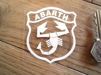 """ABARTH White & Clear Shield Car Window STICKER 3"""" Fiat 500 Pana Uno GT Barchetta"""