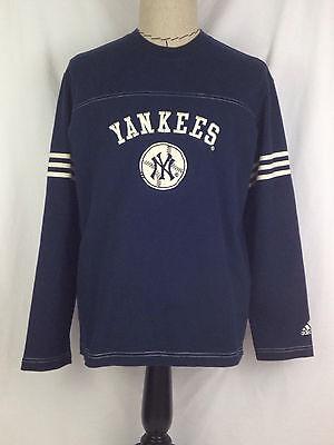 New York Yankees Mens Shirt L Size Blue White Baseball Adidas Long Sleeve MLB