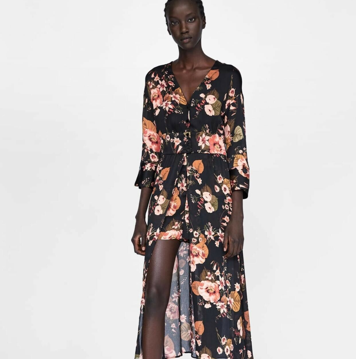 Zara Floral Print Jumpsuit Dress Size S