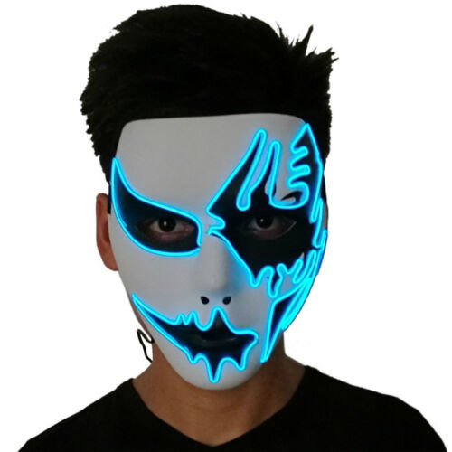 LED Light Up Flashing Mask Halloween Glowing Rave Dancing Party Favor Cosplay
