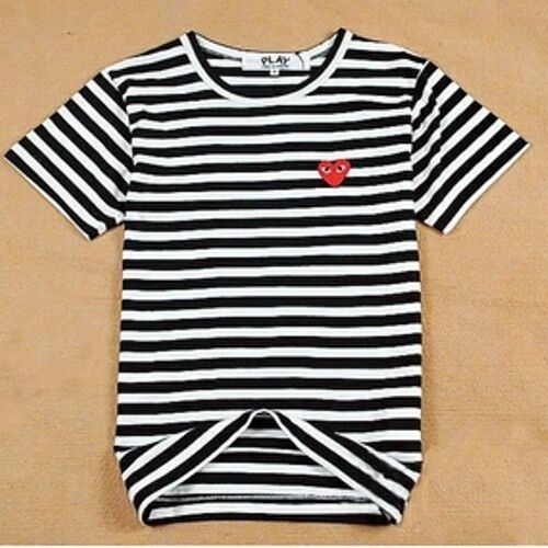 4 Sizes BLACK 2016 COMME DES GARCONS CDG PLAY STRIPED SHORT SLEEVE RED T-SHIRT