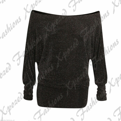 Polo Dress Batwing Top Ladies Womens LUREX GLITTER SPARKLY PARTY XMAS Bodysuit