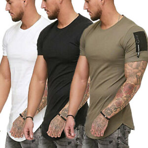 Men-039-s-Gym-Muscle-T-Shirt-Casual-Crew-Neck-Short-Sleeve-Sports-Top-Slim-Fit-Tee