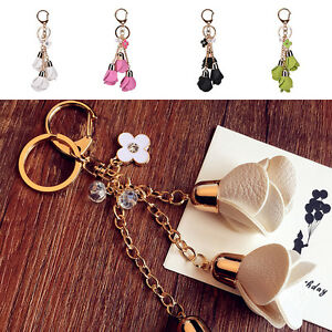 New-Leather-Flowers-Keyring-Charm-Pendant-Purse-Bag-Key-Ring-Chain-Keychain-Gift