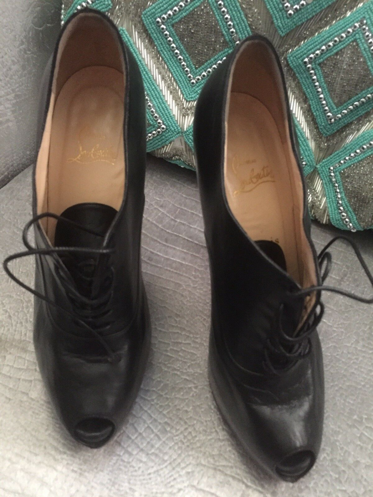 Authentic Christian Louboutin Miss Poppins 140 Bottines 40 1 2 us 39