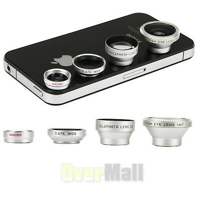 4in1 Fish Eye +Wide Angle Micro+ Telephoto Lens Camera for iPhone 6 Plus 5 5S 4S
