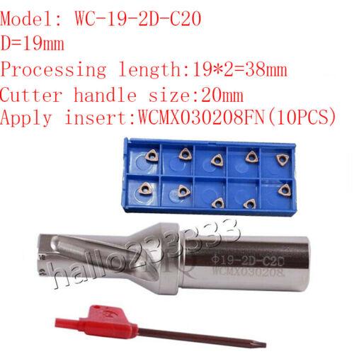 WPD190-C20-2D U drill//indexable drill//Φ 19mm C20-2D+WCMX030208FN U drill insert
