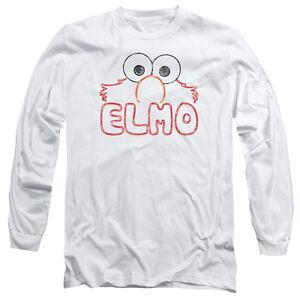 SESAME-STREET-ELMO-LETTERS-Licensed-Men-039-s-Long-Sleeve-Graphic-Tee-Shirt-SM-3XL
