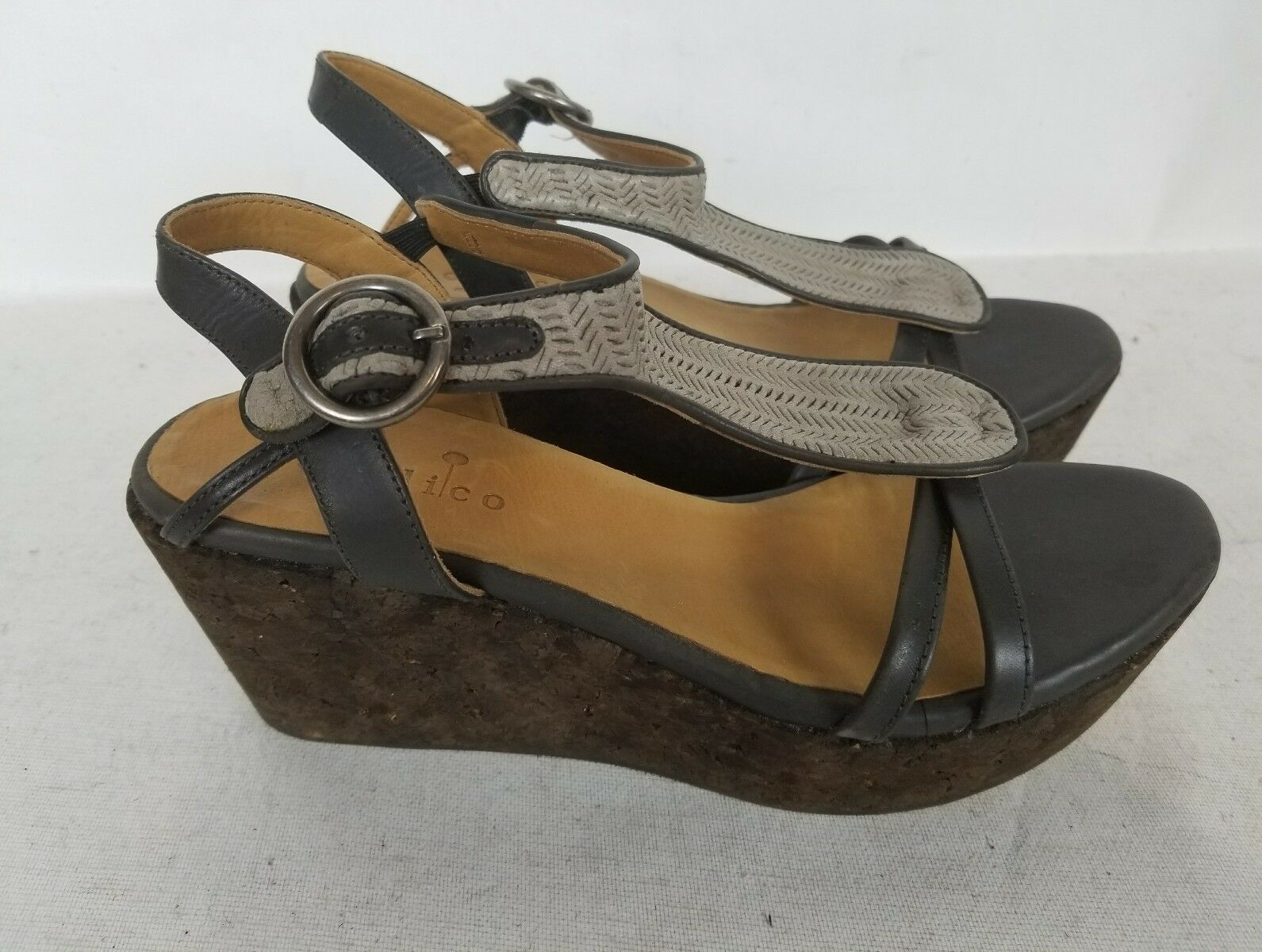 COCLICO  WEGDE COMFORT TAN    GREEN LEATHER SANDALS WORK SHOES SZ 37.5 US 7 66b36d