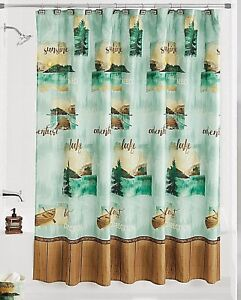 Image Is Loading Mountain Lake Fabric Shower Curtain Canoe Teal Gold
