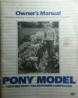 Troy-bilt Pony Roto Tiller Owners Maintenance Manual 76pg Composter Garden-way