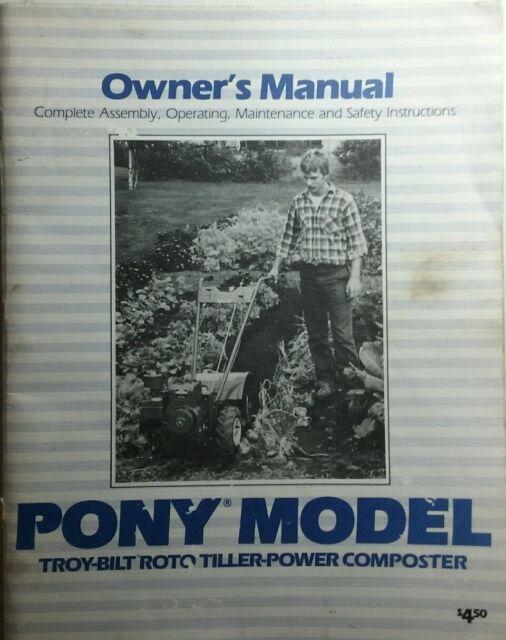 Troy built pony garden tiller, owners manual, parts manuals 8hp.
