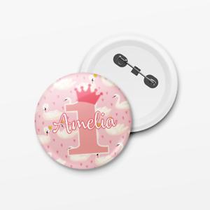 Personalised-Kids-Princess-Swan-Birthday-Girl-Pin-Badge-Add-Any-Name-amp-Age