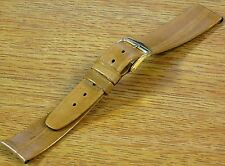 Vintage Golden Tan Mens Watch Band Strap Genuine EEL Gold Tone Buckle 18mm- NOS