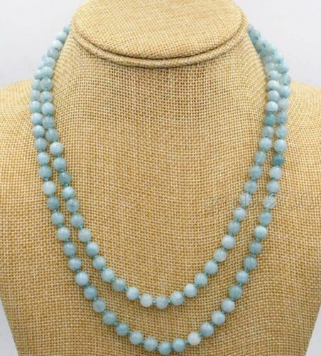 environ 121.92 cm Genuine 6 mm Naturel Bleu Brésil Aquamarine Beads Bijoux Collier 48 in